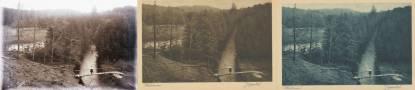 Obr. 14: Snímek Černého potoka u Vidnavy na skleněném negativu a dvou sekundárních tiscích.
